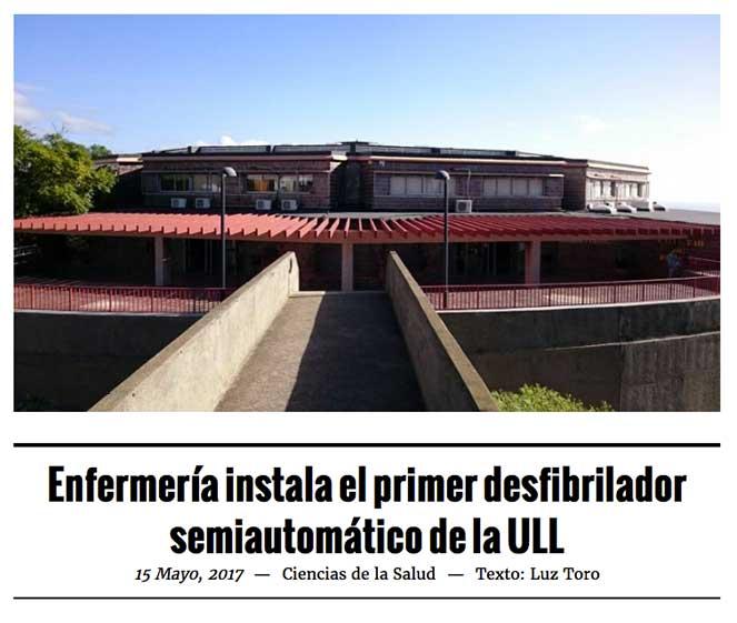 Enfermería instala el primer desfibrilador semiautomático de la ULL